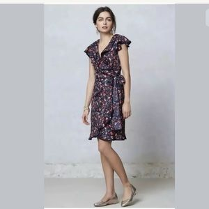 Anthropologie Hi There Navy Cherry Wrap Dress